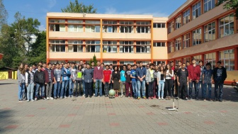 "Pupils and staff at ""Grigore Moisil"" National College from Bucharest"